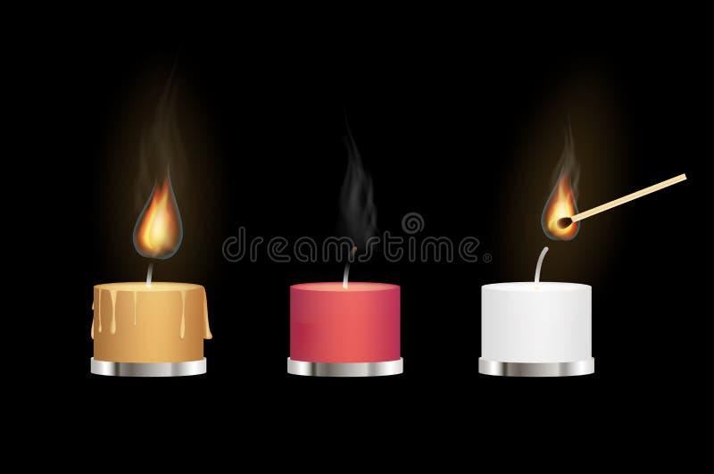 Żółte czerwieni i bielu aromata świeczki pali z matchstick ilustracji