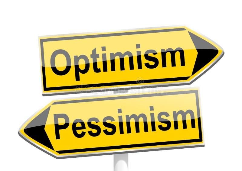Żółte kierunkowe strzała z słowami optymizm i pesymizm ilustracja wektor