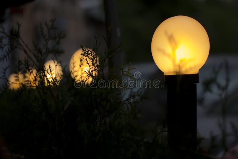 Żółte latarnie uliczne w zmroku obrazy stock