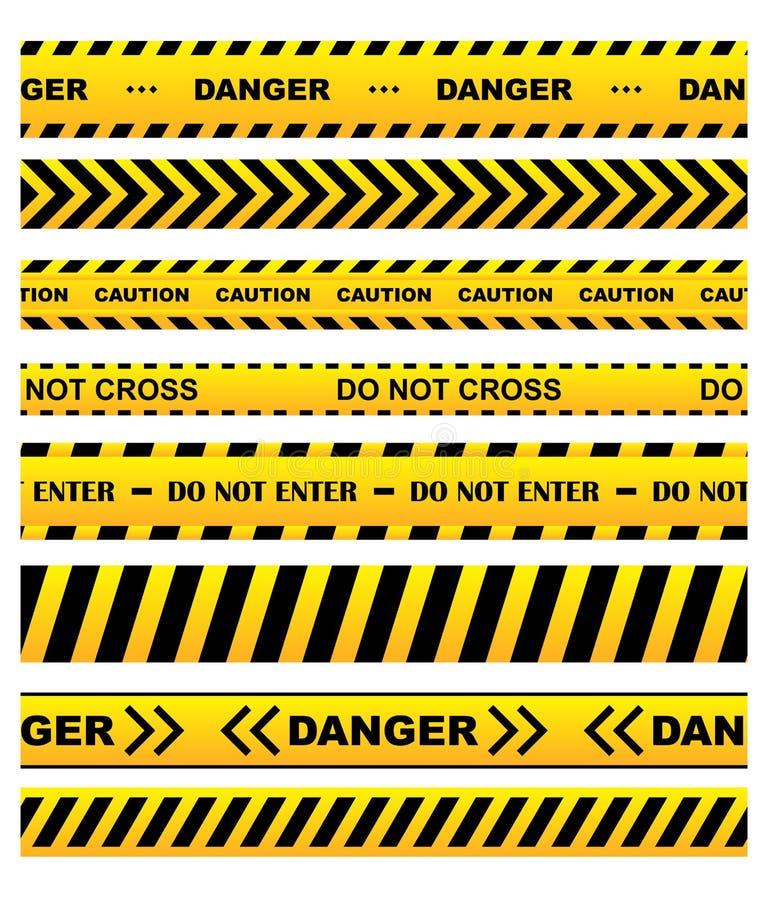Żółte ostrzegawcze taśmy ustawiać ilustracji