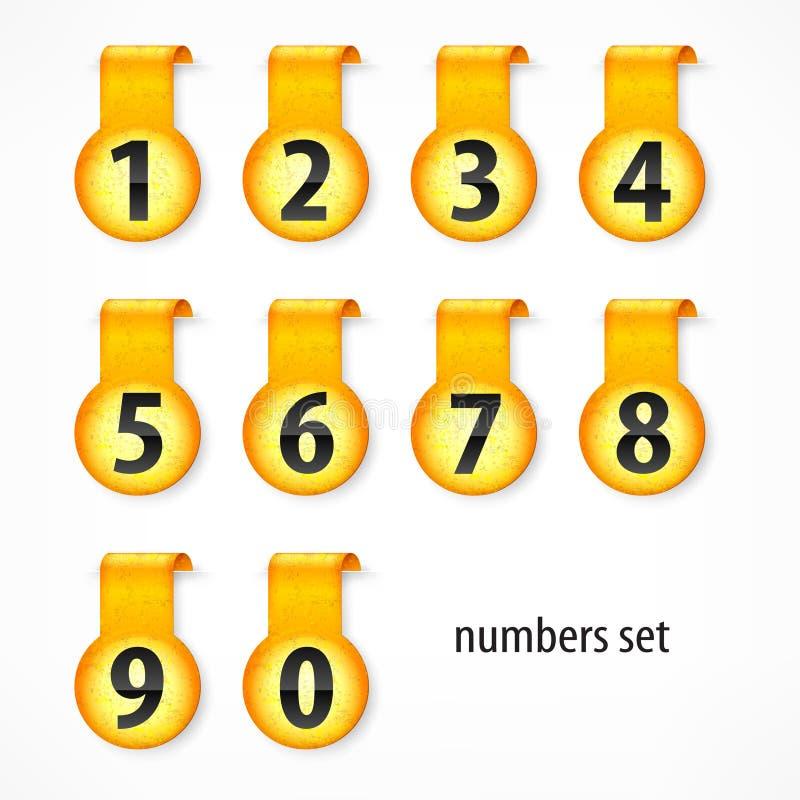 Żółte round liczby na majcherze royalty ilustracja
