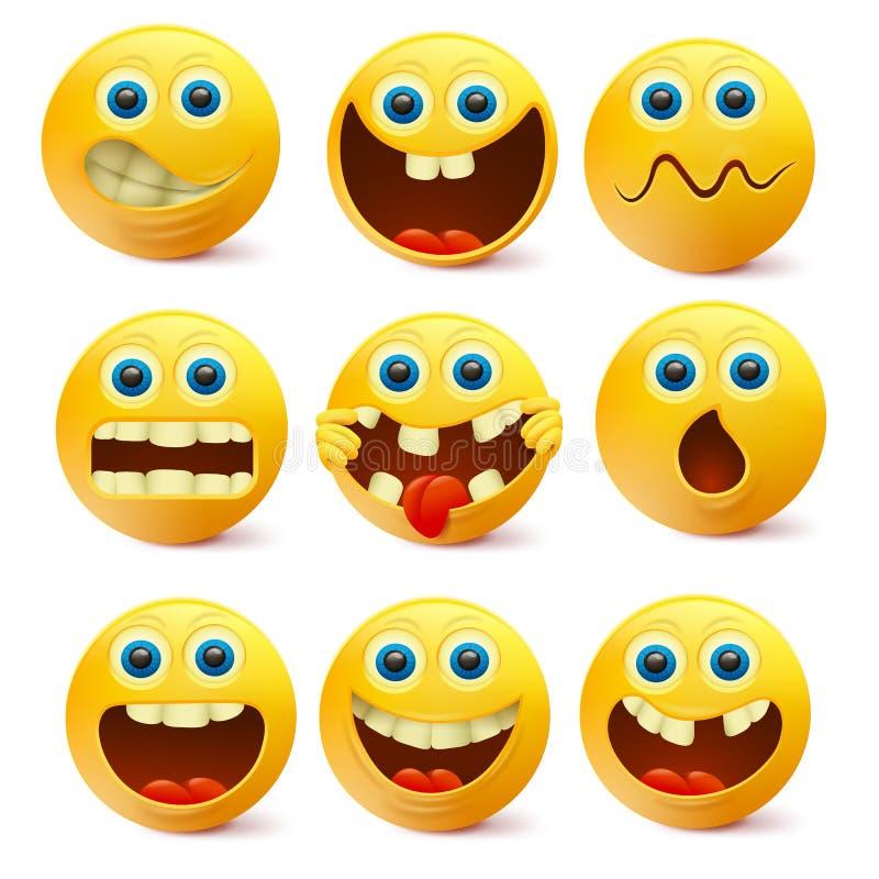 Żółte Smiley twarze Emoji charakterów szablon royalty ilustracja