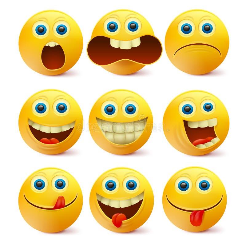 Żółte Smiley twarze Emoji charakterów szablon ilustracja wektor