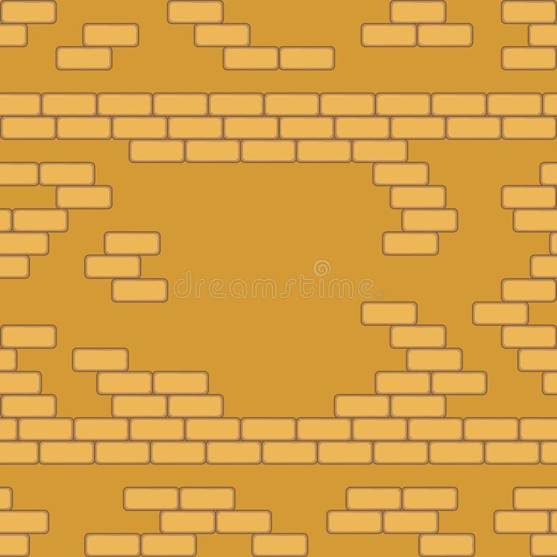 Żółtego ściana z cegieł bezszwowy Wektorowy ilustracyjny tło - tekstura wzór dla ciągłego replikuje ilustracji