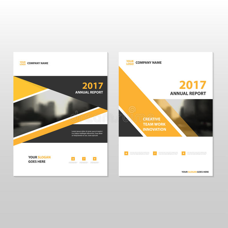 Żółtego czarnego trójboka sprawozdania rocznego ulotki broszurki ulotki szablonu Wektorowy projekt, książkowej pokrywy układu pro royalty ilustracja