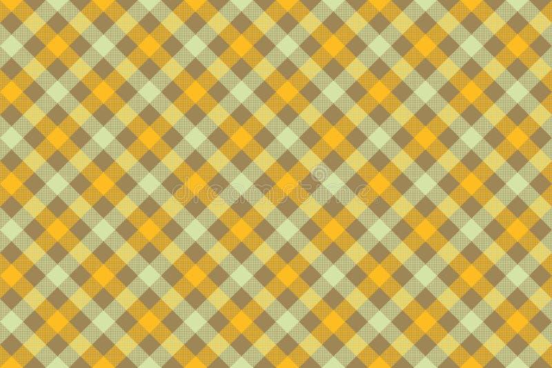 Żółtego czek tkaniny tekstury diagonalnego tła bezszwowy wzór ilustracja wektor