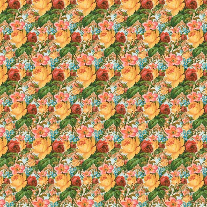 Żółtego i czerwonego rocznik róży kwiatu tła tapetowa powtórka ilustracji
