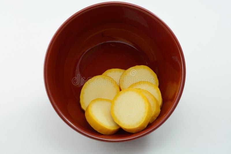 Żółtego kabaczka plasterki obraz stock