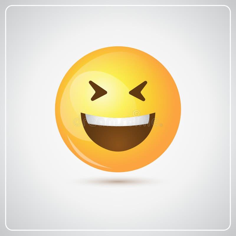 Żółtego Uśmiechniętego kreskówki twarzy śmiechu emoci usta Otwartej ikony Pozytywni ludzie ilustracji