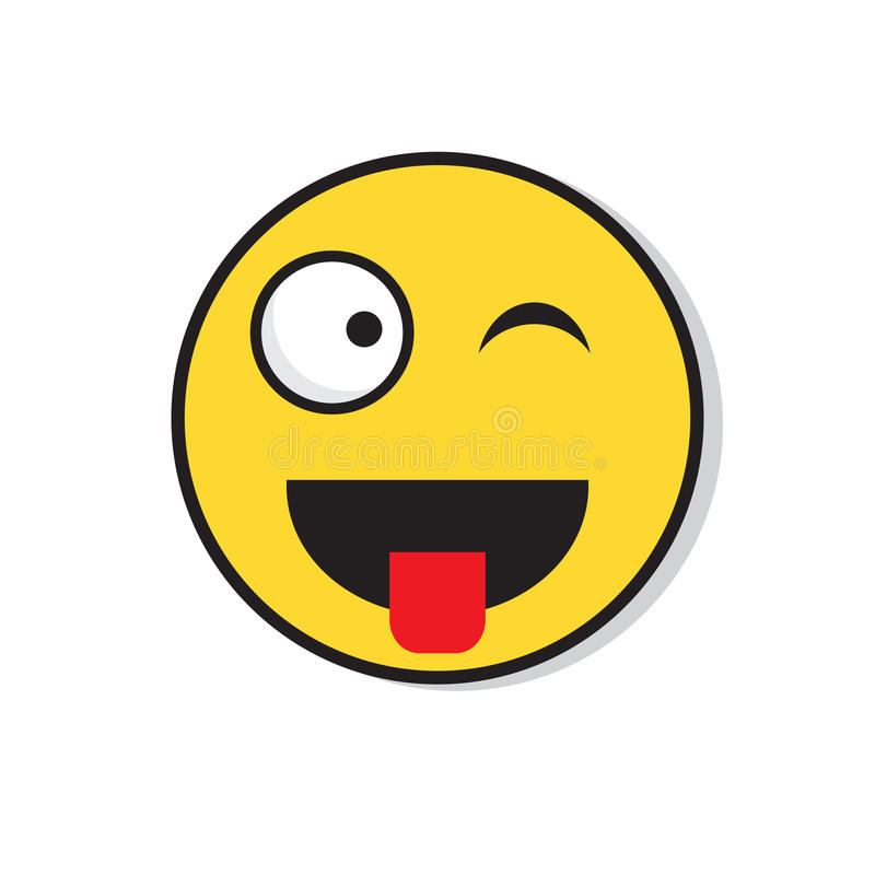 Żółtego Uśmiechniętego twarzy mrugnięcia emoci ikony Pozytywni ludzie ilustracji