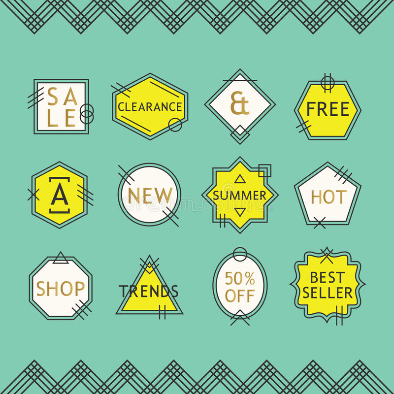 Żółtej i białej linii sprzedaży emblematy ustawiający na błękitnym tle ilustracji