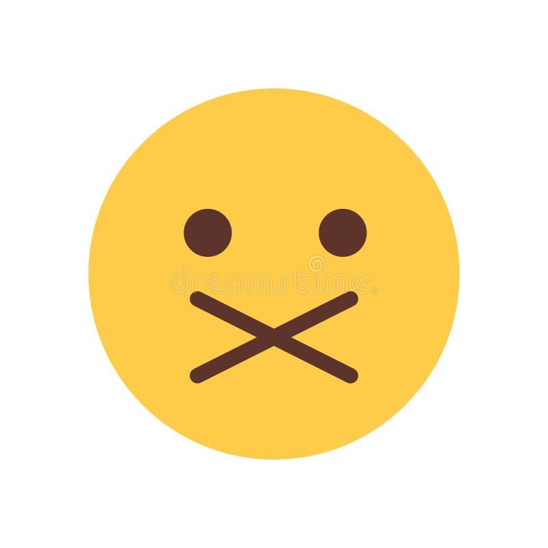 Żółtej kreskówki twarzy Emoji emoci ikony Cisi Szokujący ludzie ilustracja wektor
