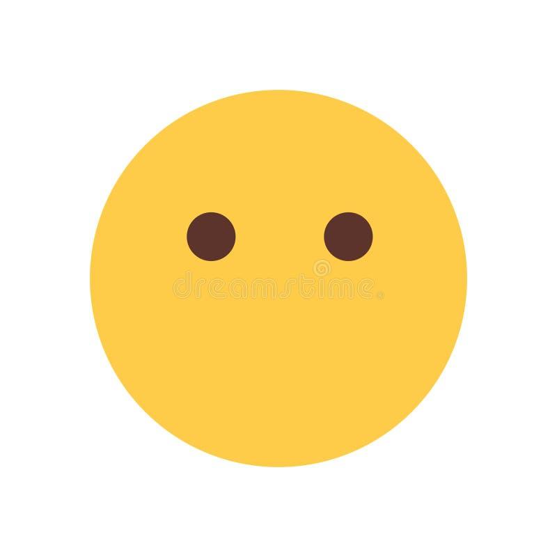 Żółtej kreskówki twarzy Emoji emoci ikony Cisi Szokujący ludzie ilustracji
