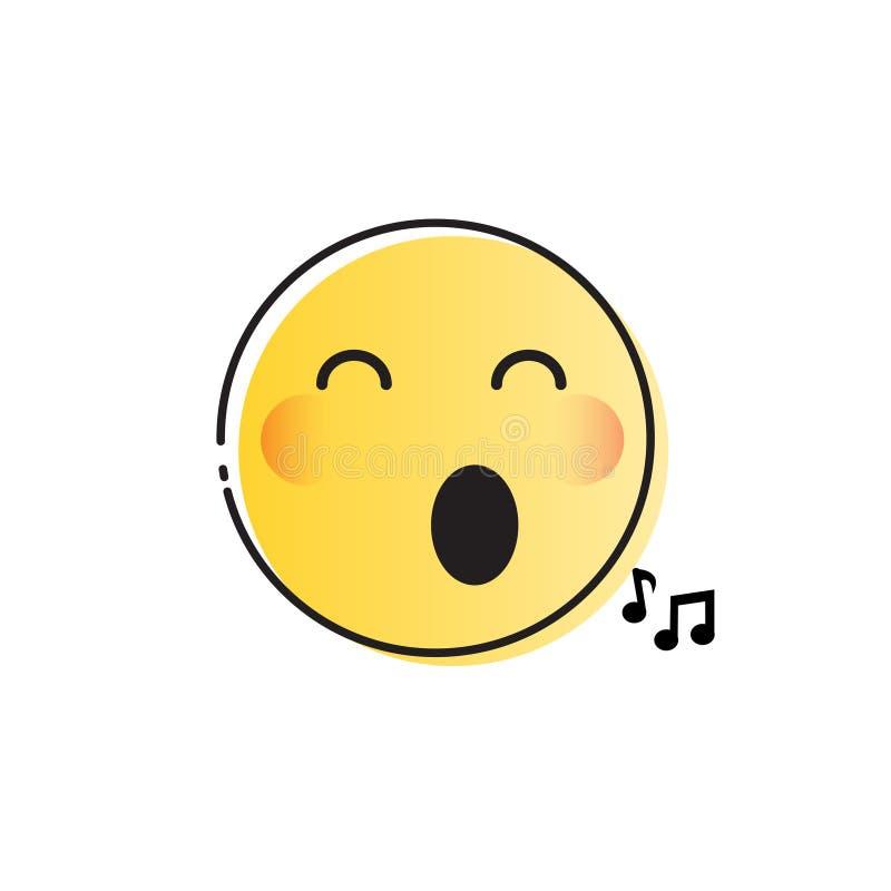 Żółtej Uśmiechniętej kreskówki twarzy emoci ikony Pozytywni ludzie ilustracja wektor