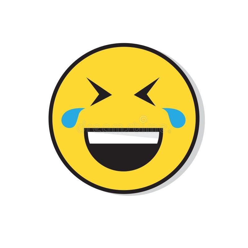 Żółtej Uśmiechniętej twarzy emoci ikony Roześmiani Pozytywni ludzie ilustracji