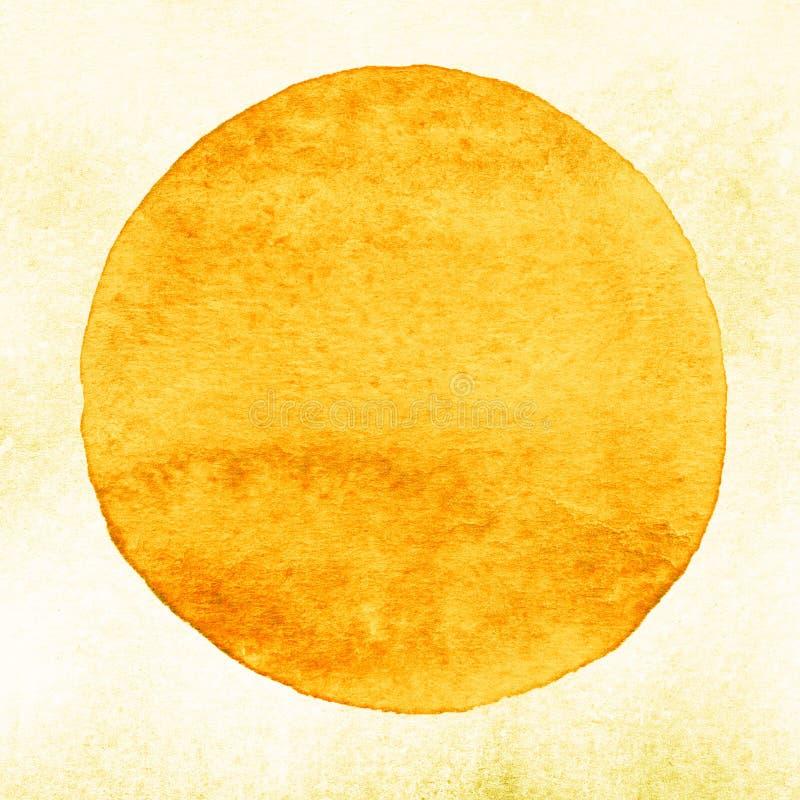 Żółty akwarela okrąg Watercolour plama na białym tle ilustracji