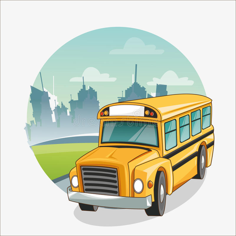 Żółty autobus z powrotem szkoła projekt ilustracji