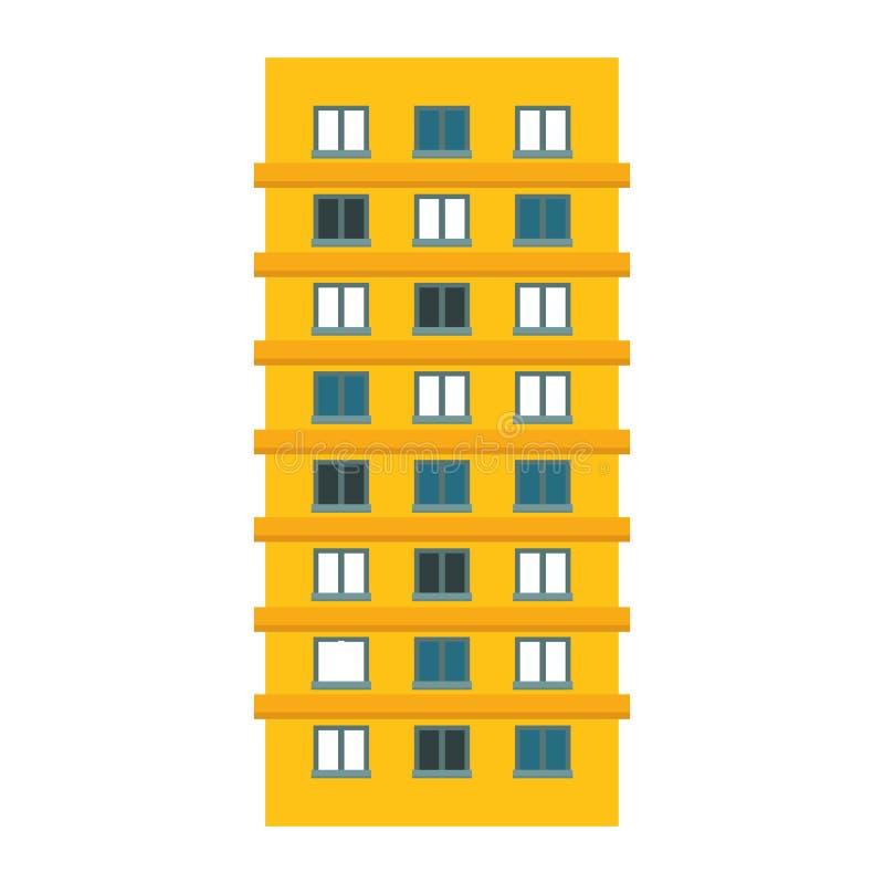Żółty budynek mieszkaniowy linii majcher ilustracja wektor