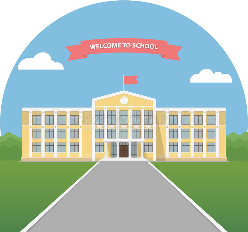 Żółty budynek szkoły w krajobrazie Szkolna biblioteka Uniwersyteta lub szkoły wyższa budynek Sztandaru zaproszenie z powrotem szk ilustracji