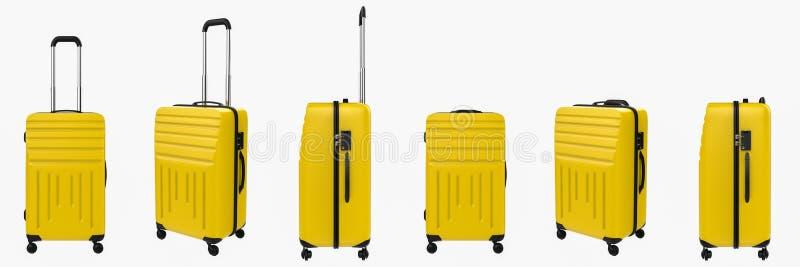 Żółty ciężki skrzynka bagaż odizolowywający na bielu obraz stock