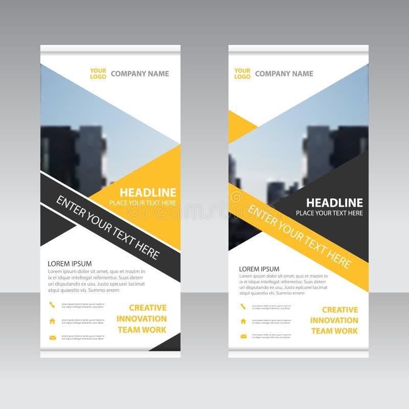 Żółty czarny Biznesowy Stacza się Up sztandaru projekta płaskiego szablon, Abstrakcjonistyczna Geometryczna sztandaru wektoru ilu royalty ilustracja