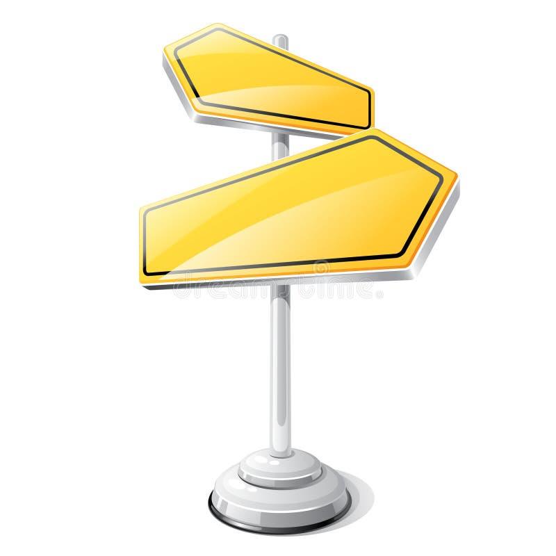 Żółty drogowego znaka projekta odizolowywający szablon royalty ilustracja