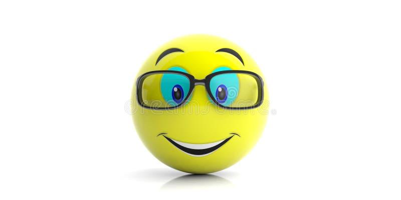 Żółty emoji z dużym uśmiechem i szkłami na białym tle ilustracja 3 d ilustracji