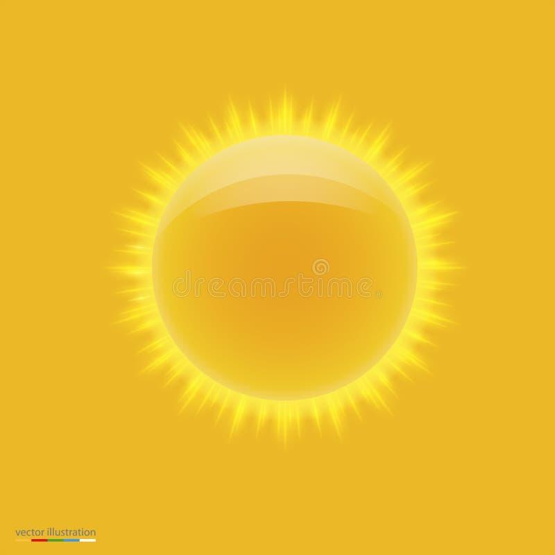 Żółty gorący słońce z promieniami ilustracji