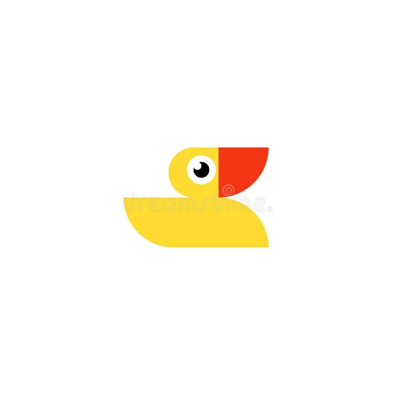 Żółty gumowy kaczka logo Złotka skąpania zabawki mieszkania ikona royalty ilustracja