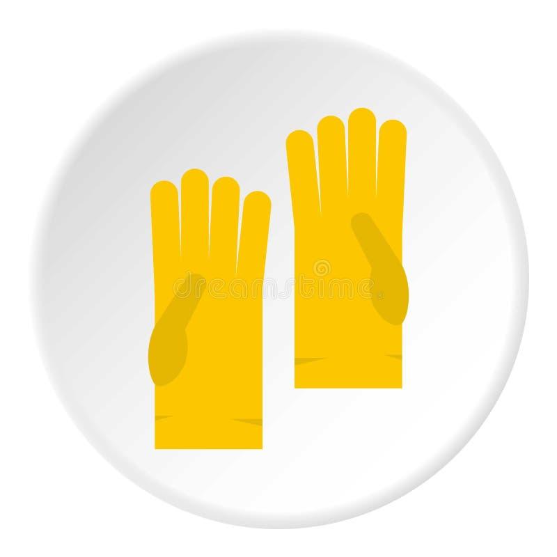 Żółty gumowy rękawiczki ikony okrąg ilustracji