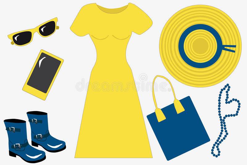 Żółty i błękitni lato ustawiający dla kobiety wiosna/, mieszkanie, vecto ilustracja wektor