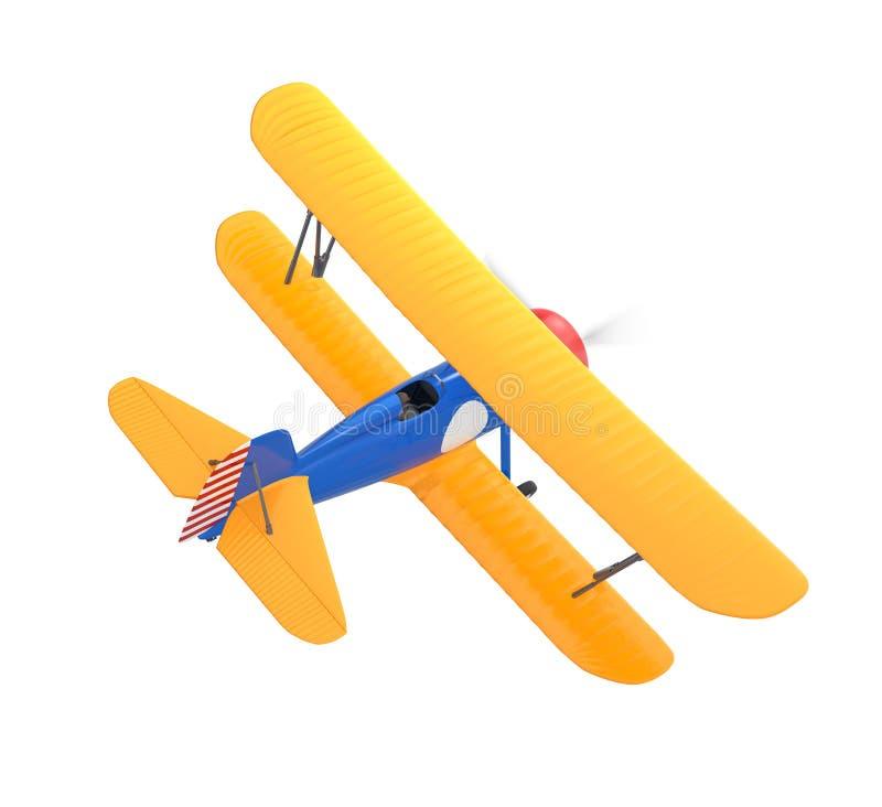 Żółty i błękitny biplan odizolowywający na białym tle zdjęcia royalty free
