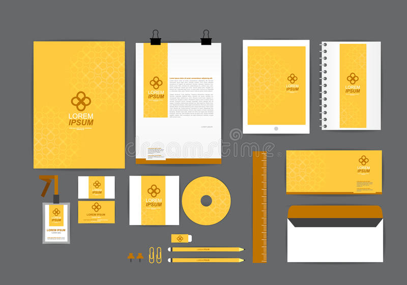 Żółty i brown korporacyjnej tożsamości szablon dla twój biznesu ilustracja wektor