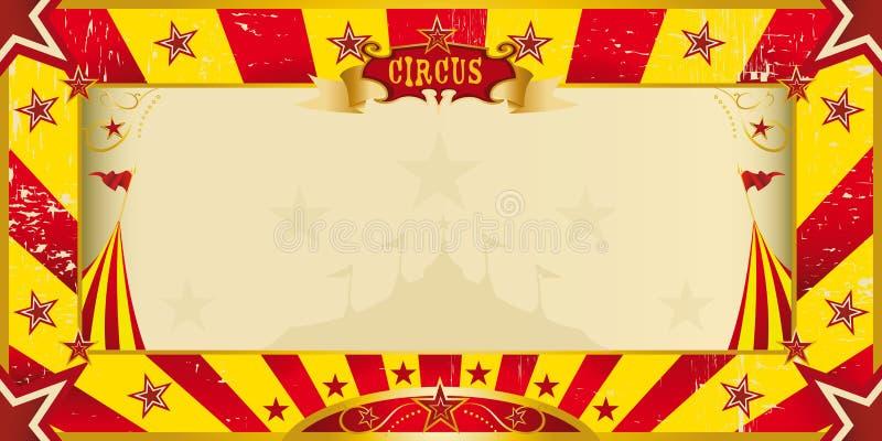 Żółty i czerwony grunge cyrka zaproszenie ilustracja wektor