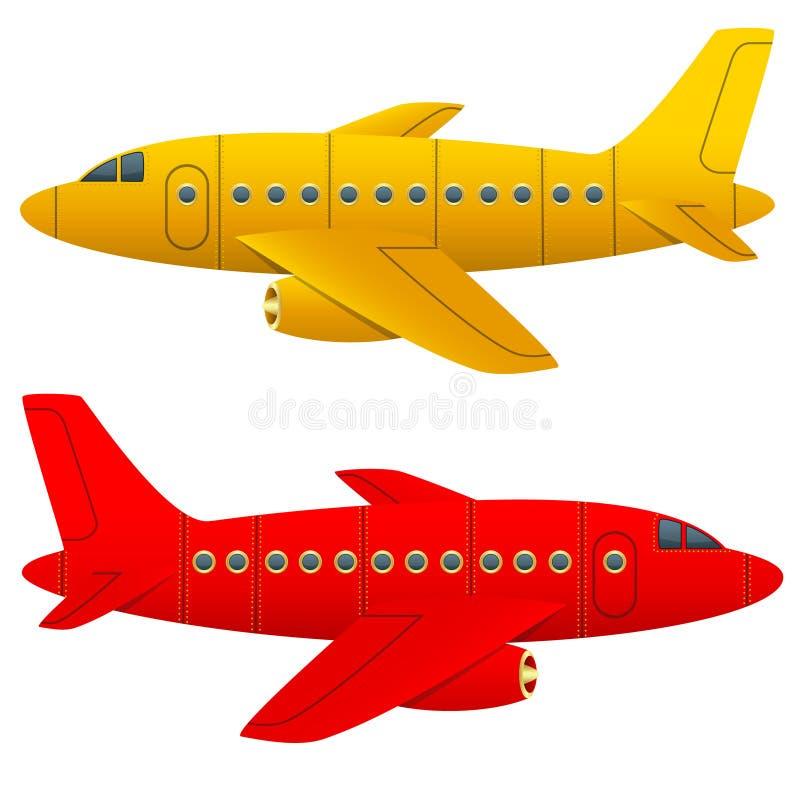 Żółty i czerwony samolot na białym tle Odosobneni przedmioty Kreskówka styl niebieski obraz nieba tęczową chmura wektora ilustracja wektor