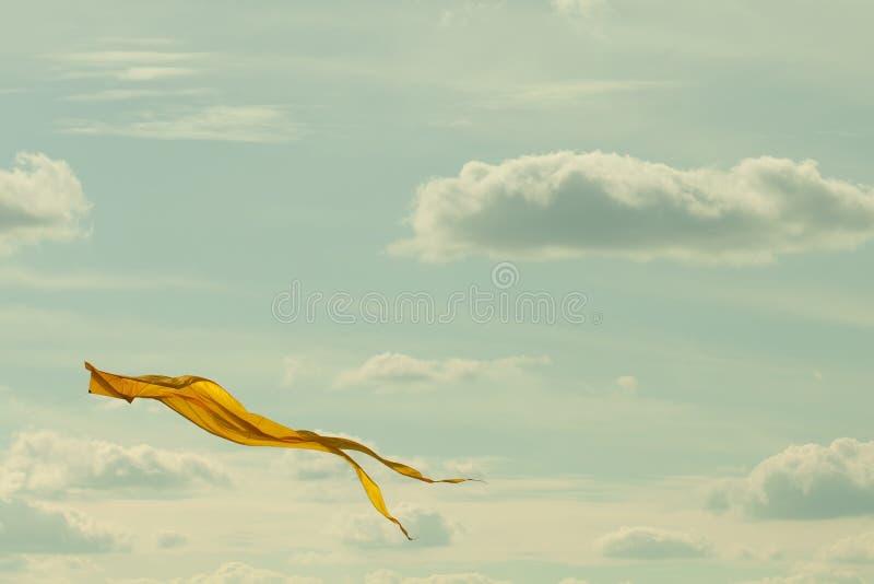 Żółty kani latanie w chmurnym niebie Lata pojęcia krajobrazowy wizerunek Retro koloru skutek obrazy stock