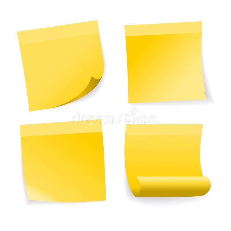 Żółty kij notatki set ilustracji