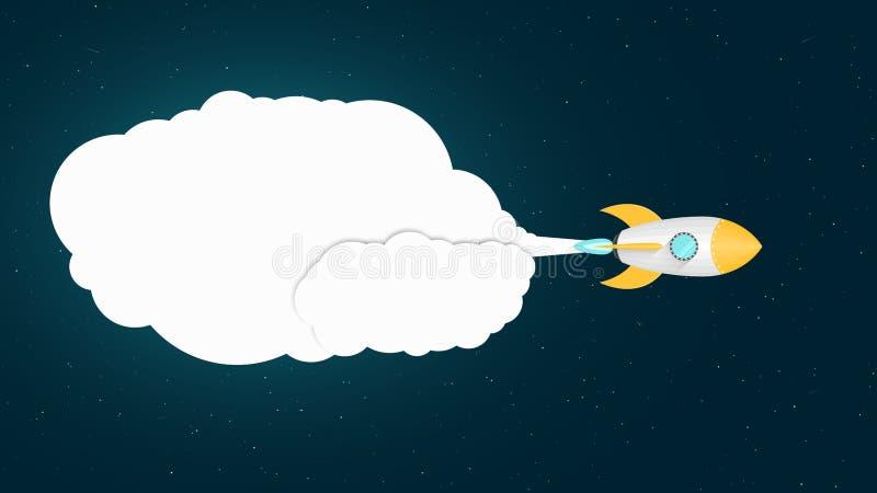 Żółty kreskówka pocisk lata w przestrzeni Astronautyczny pojęcie Biała chmura dymu Pusty sztandar dla Twój teksta Gwiaździsty nie ilustracji