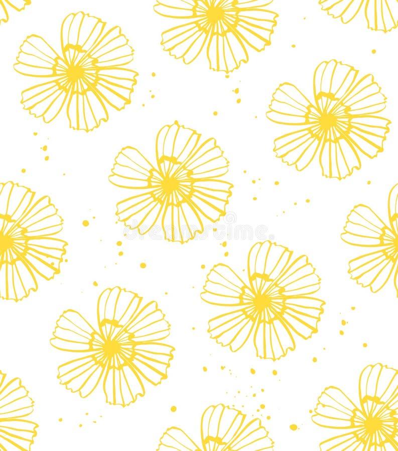 Żółty kwiatu wzoru wektor bezszwowy ilustracji