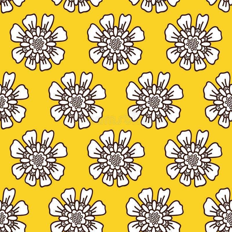 Żółty kwiecisty wzór dla dziewczyny ilustracji
