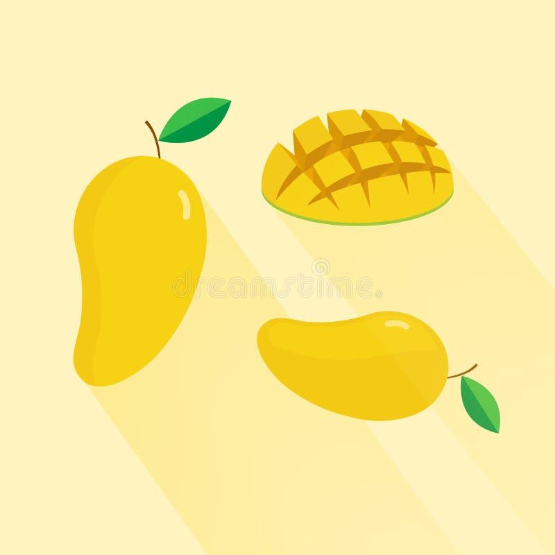 Żółty mango odizolowywający na żółtym tle Egzotycznego owocowego żółtego mango odosobniony płaski wektor royalty ilustracja