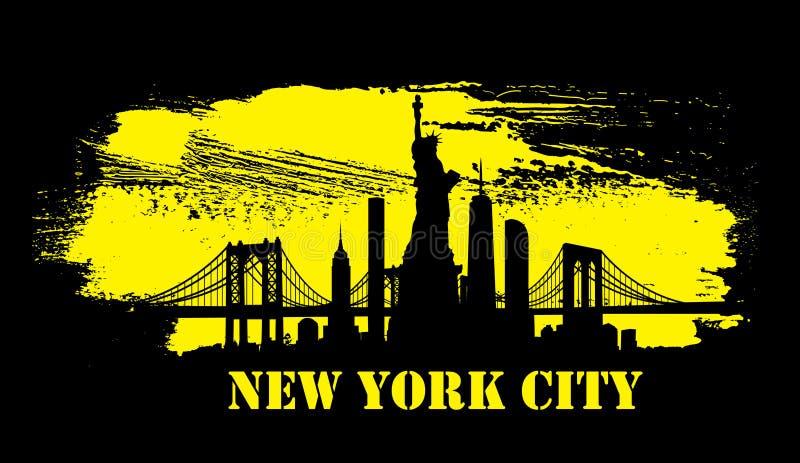 Żółty Miasto Nowy Jork linii horyzontu wektor ilustracji