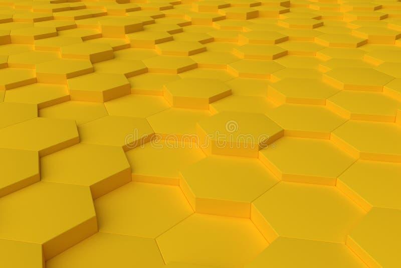 Żółty monochromatyczny sześciokąt tafluje abstrakcjonistycznego tło obraz royalty free