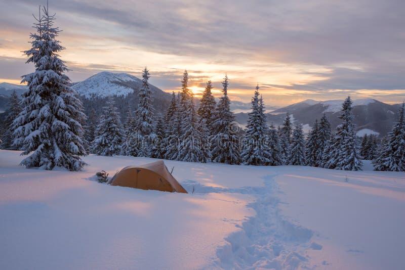 Żółty namiot zakrywający z mrozem jest w zim górach zdjęcia royalty free
