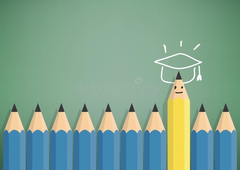 Żółty ołówek stoi out od błękitnego ołówka z sukcesem royalty ilustracja