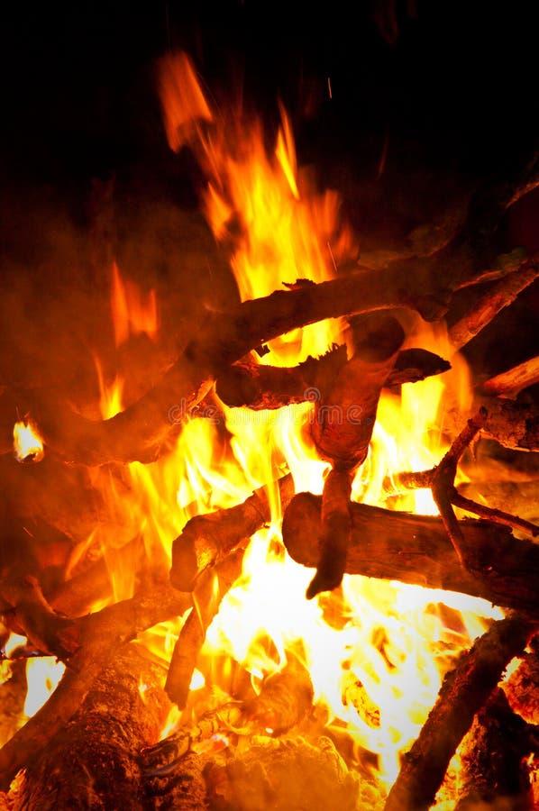 Żółty ognisko z drewnianym paleniem fotografia stock