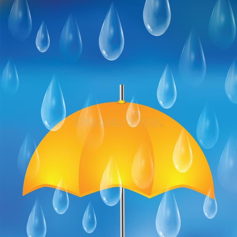 Żółty parasol i raindrops ilustracja wektor