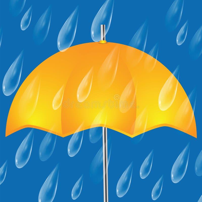 Żółty parasol i raindrops ilustracji