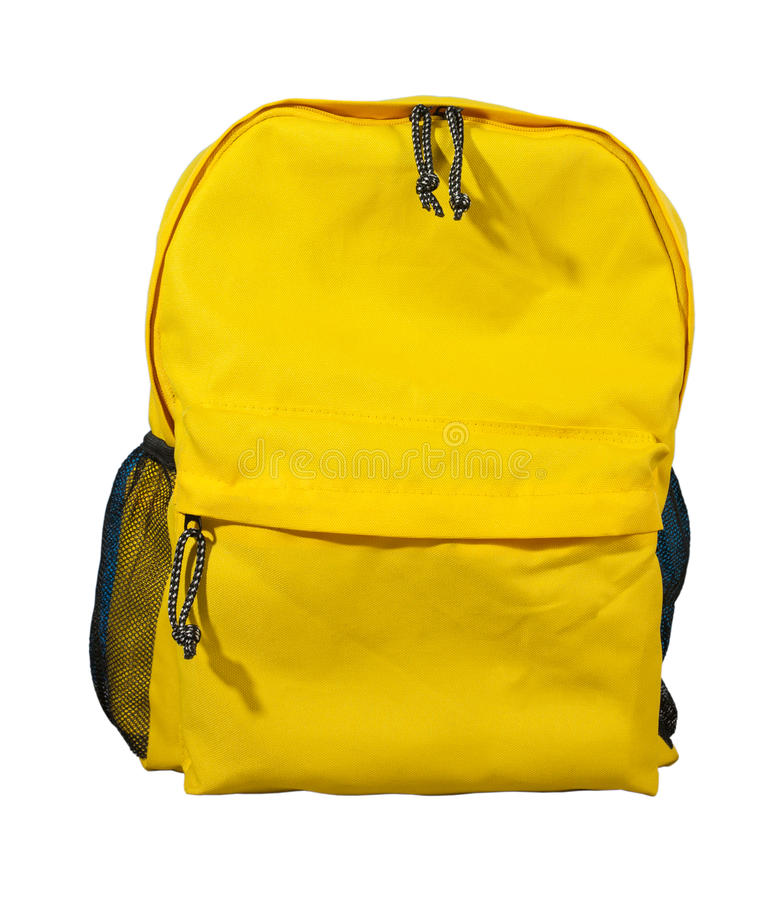 Żółty plecak, Szkolna torba obraz royalty free