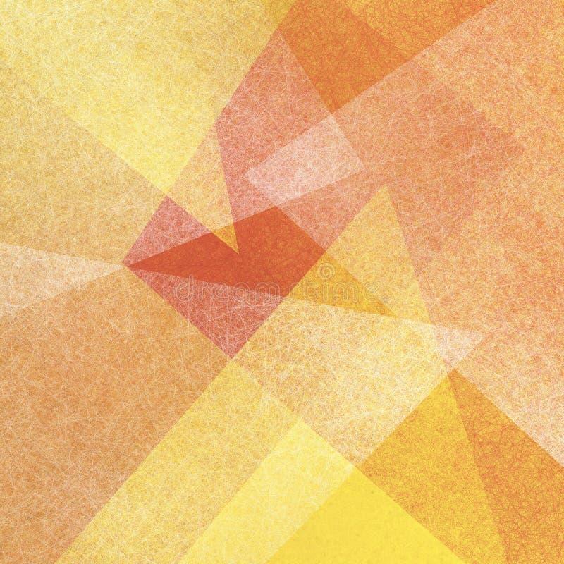 Żółty pomarańcze i bielu tło z abstrakcjonistycznymi trójbok warstwami z przejrzystą teksturą royalty ilustracja